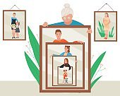 Woman age vector illustration, cartoon flat elderly lady holding mirror with reflection of aging process and different life periods