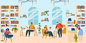 People read books in library flat vector illustration, cartoon happy booklover reader characters sitting at tables and in chairs background