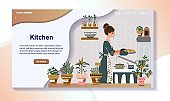 Woman baking pie in kitchen, home cooking website design, vector illustration