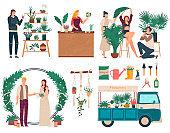 Florist selling flowers, people decorating wedding ceremony, vector illustration