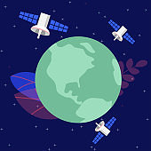 Satellite orbiting around planet, Earth ecology concept vector illustration