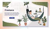 Freelancer working from home, man in hammock with laptop, vector illustration