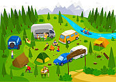 Summer camping outdoor in nature, people on vacation, vector illustration