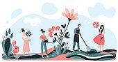 Male, female harvest and care flower, farmer man and woman dig land, isolated on white, flat vector illustration. Design web banner.