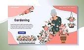 Elderly woman growing plants, gardening hobby website design, vector illustration