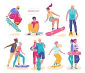 Teenagers riding skateboard, set of isolated cartoon characters, vector illustration