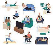 Home leisure, people resting on couch after work, vector illustration
