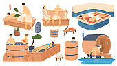 Sauna and spa wooden bathhouse, people in apanese russian and turkish bath, steam house relax and leisure isolated set cartoon vector illustration.