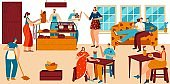 People in cozy cafe, bakery with fresh bread and coffee, pastry shop service, vector illustration