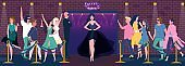Night club entrance, beautiful woman in dress, people stand in line, vector illustration