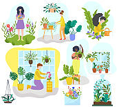 People growing houseplants and flowers, gardening hobby vector illustration