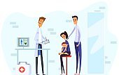 Characters family with sick child, male and female in medical examination by doctor, flat vector illustration. Sad father, mother and scared child.