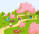 Spring city sakura park, characters people relax, train and walk dogs, family picnic, flat vector illustration, isolated on white background.