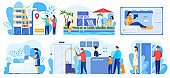 Hotel service, people cartoon characters staying in hostel, vector illustration