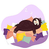Sleeping sloth, cute animal cartoon character, vector illustration