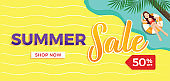 Beach summer sale illustration template with 50 percent off sign,