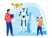 Android robot, people control futuristic technologies with modern gadgets, vector illustration
