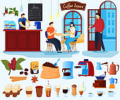 Coffee house vector illustration set, cartoon flat coffee lover character drinking, barista makes hot fresh beverage, menu isolated on white
