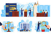 Law and justice concept, people in court, set of vector illustrations