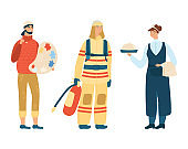 Fireman, cook and artist concept different profession vector illustration, isolated on white background. Occupation icon.