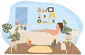 Woman bathing in relaxing atmosphere at home, people vector illustration