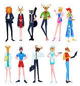 People in animal heads vector illustrations, cartoon flat man woman characters with deer lion cock zebra cat giraffe tiger headbands