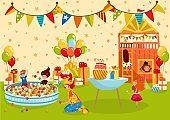 Children birthday party, kids playground, people vector illustration