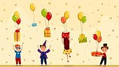 Happy children getting birthday presents, gift boxes with balloons, people vector illustration