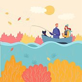 Romantic couple fishing boat in autumn, vector illustration