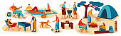 People cooking outdoor, summer barbecue picnic and camping with friends, vector illustration