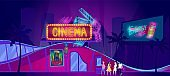 Cinema neon signboard, young people go to movie theater at night, vector illustration