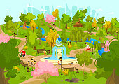 People walking with dogs in summer park, weekend leisure recreation in city nature, vector illustration
