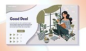 Woman reading book on windowsill, home leisure website design, vector illustration