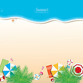 Colorful summer beach vector background , top view