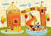 Happy children having fun together in playroom, people vector illustration