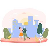 Romantic couple in city, happy people in love, valentine day vector illustration