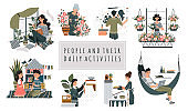 Everyday hobby activity, cartoon characters vector illustration