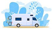 House on wheels, traveling truck, carries bicycle, camper wagon, palm tree leaf background, vector illustration. Free vacation, travel.