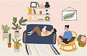 Couple rest at home, people relax in cozy apartment, vector illustration