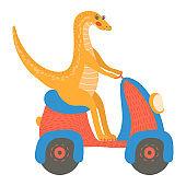 Funny cartoon dinosaur ride on transport, fun riding motorcycle, flat style design vector illustration, isolated on white.