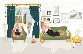 People rest at home, relax in cozy apartment, vector illustration