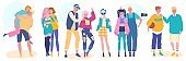 Teenage friends, happy young teens in fashion clothes, vector illustration