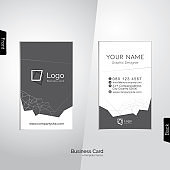 Modern white and gray vertical business card with abstract line polygons