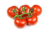 cluster tomatoes on a white background