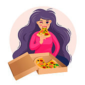 Cartoon Color Character Person Woman Eating Pizza Concept. Vector