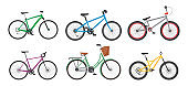 Cartoon Color Different Bicycles Icon Set. Vector