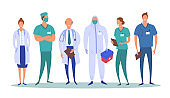 Cartoon Color Characters People Group of Medical Workers Concept Set. Vector
