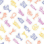 Classic Alcoholic Cocktails Thin Line Concept Seamless Pattern Background . Vector