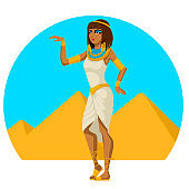 Cartoon Color Character Person Female Egyptian Concept. Vector