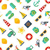 Cartoon Color Summer Holiday Concept Seamless Pattern Background. Vector